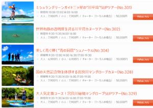 石垣島ツアーズ チャータープランの一部